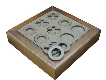 jogo da velha madeira nogueira recouro cafÉ 32x32x7cm