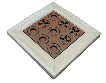 Jogo da Velha madeira Natural RECOURO CARAMELO 23X23X2,5CM
