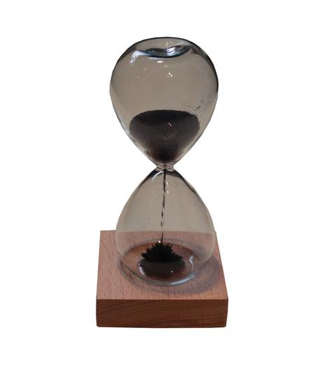 ampulheta 55 segundos magnética base madeira azul 14x6x6cm