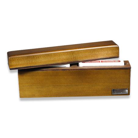 estojo 2 baralhos madeira nogueira e recouro cafÉ 23x4x9,5