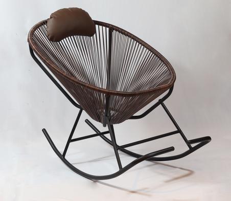 cadeira de balanÇo acapulco marrom 80x100x70cm