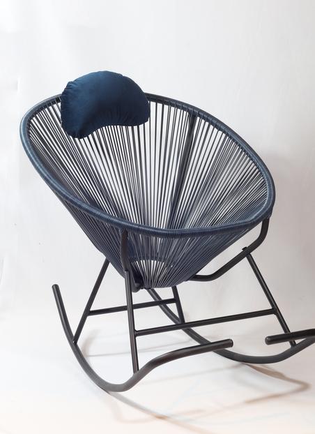 cadeira de balanÇo acapulco azul marinho 80x100x70cm