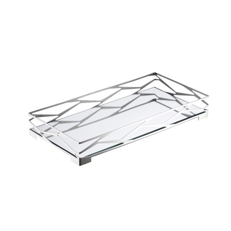 bandeja trama bar retangular inox vidro espelhado 9x32x64cm