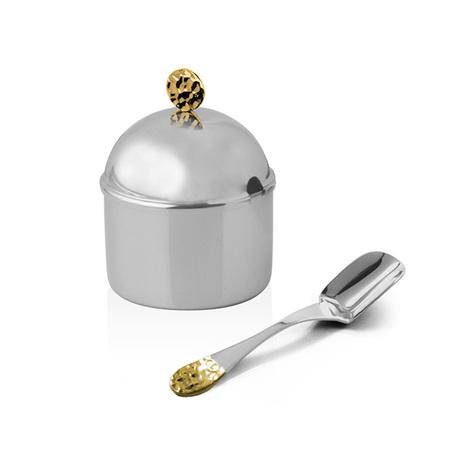 acucareiro ravena nocc detalhes ouro 24k colher 9,5cm