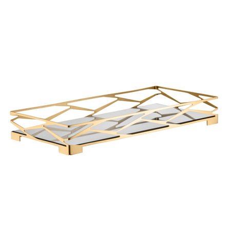 bandeja trama bar retangular ouro 24k com vidro espelhado