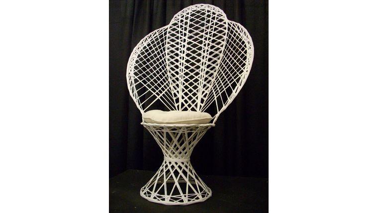 White Wicker Fan Back Chair Rentals Online 40 Day