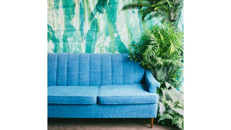 Barbara Royal Blue Midcentury Sofa Rentals Online 299 Day