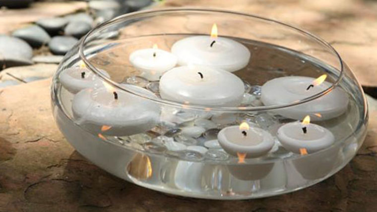 Candles Vase W Floating Candles And Pebbles Rentals Online 45day