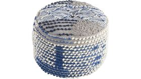 Image of a BLUE TEXTURED POUF