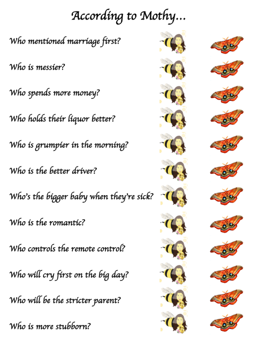 bee theme bridal shower games