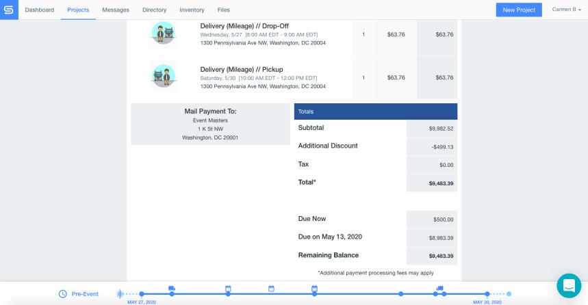Screenshot of Goodshuffle Pro, rental software, invoice.