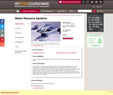 Water Resource Systems, Fall 2006