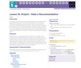 CS Discoveries 2019-2020: Data and Society Lesson 5.15: Project - Make a Recommendation