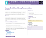 CS Discoveries 2019-2020: Data and Society Lesson 5.3: ASCII and Binary Representation