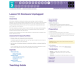 CS Discoveries 2019-2020: Interactive Animations and Games Lesson 3.1: Booleans Unplugged