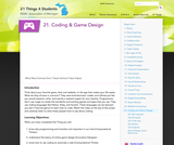 21 Things 4 Students: Thing 21 - Coding and Game Design