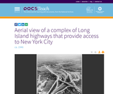 Aerial view of a complex of Long Island highways that provide access to New York City