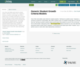 Generic Student Growth Criteria Models