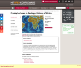 Crosby Lectures in Geology: History of Africa, Fall 2005
