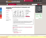 Language and its Structure III: Semantics and Pragmatics, Spring 2005