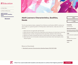 Adult Learners: Characteristics, Qualities, Needs