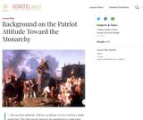 Background on the Patriot Attitude Toward the Monarchy