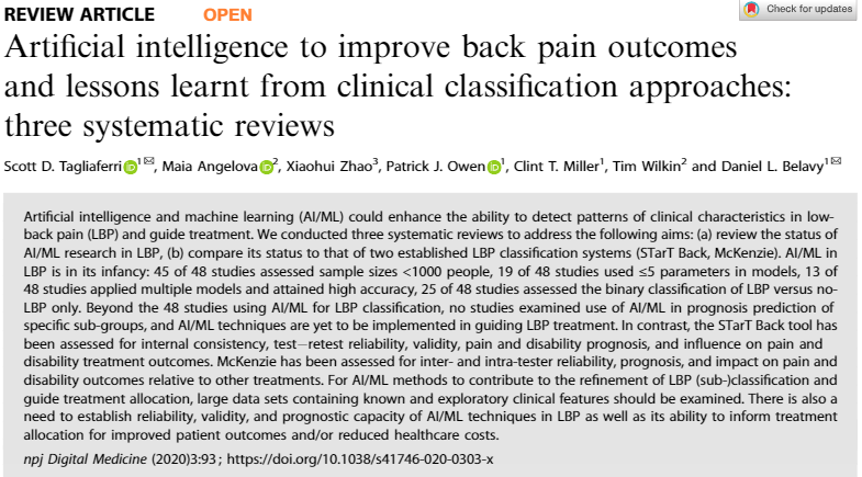 Artificial intelligence and the classification of low back pain