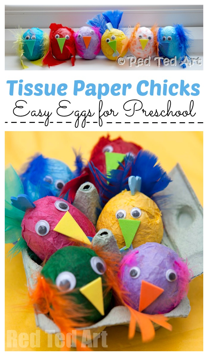 Tissue Paper Chicks Egg Decorating for Preschool - Red Ted Art's Blog