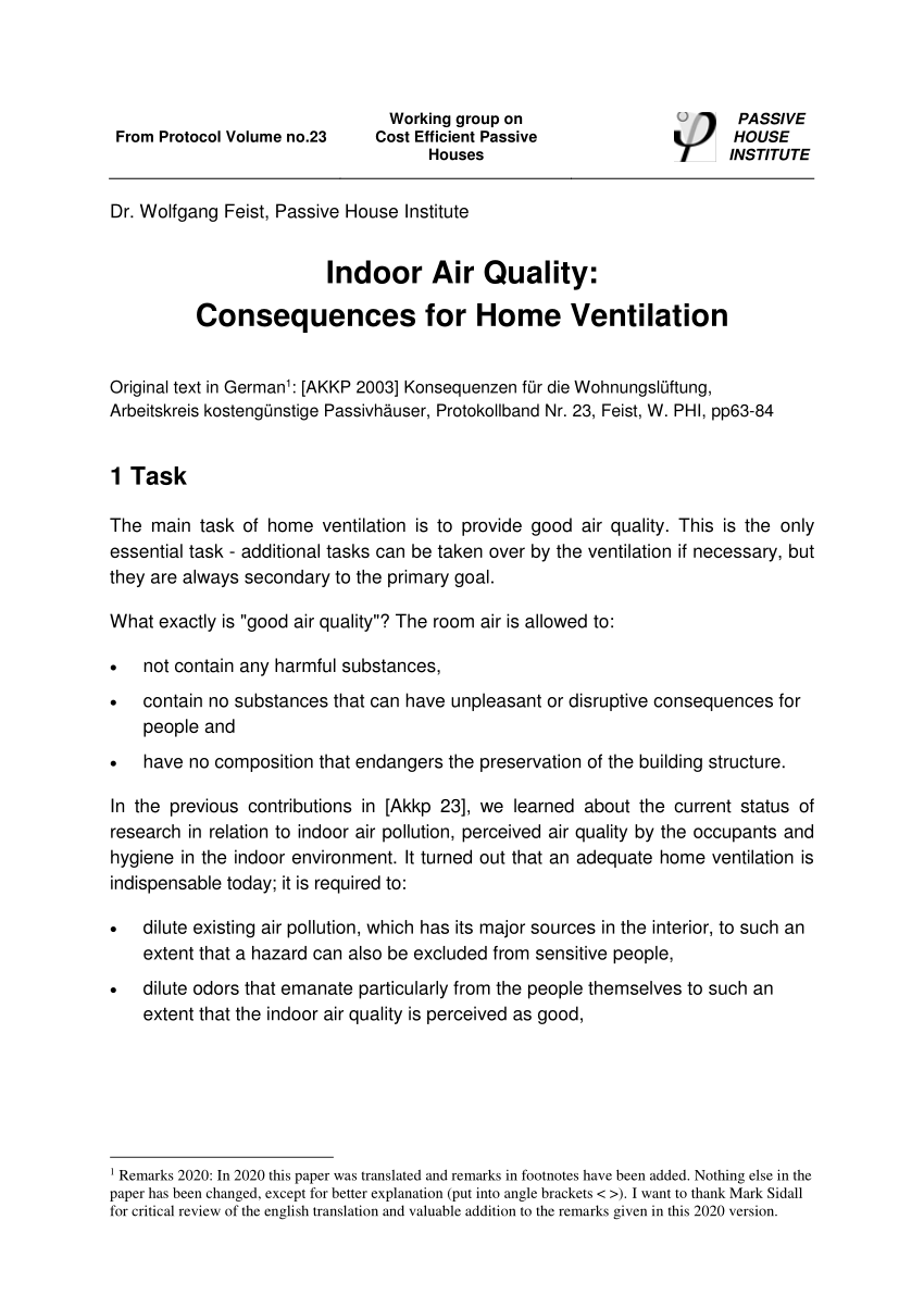(PDF) Indoor Air Quality: Consequences for Home Ventilation
