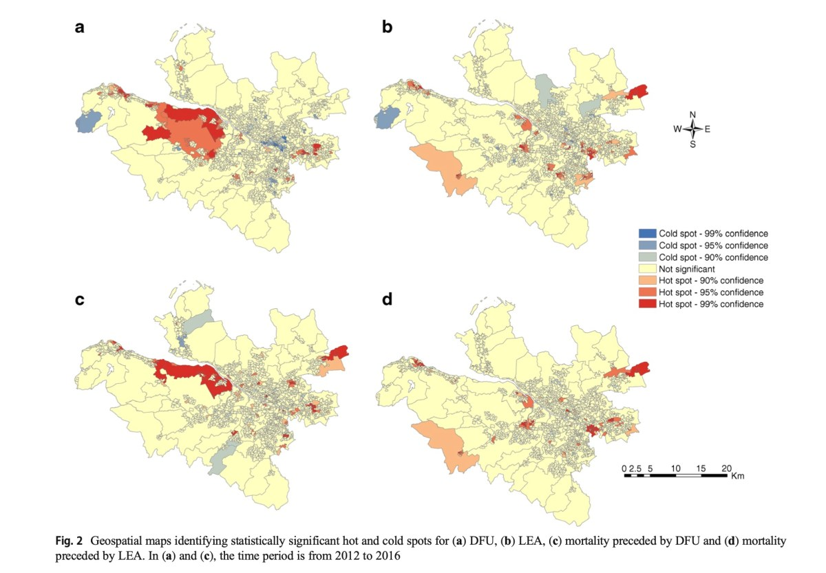 Geospatial mapping and data linkage uncovers variability in outcomes of foot disease according to multiple deprivation: a population cohort study of people with diabetes
