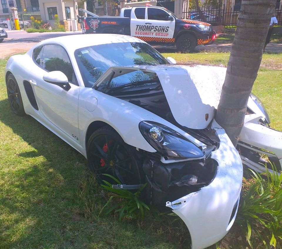Brand new Porche crashed into a tree in Broadacres