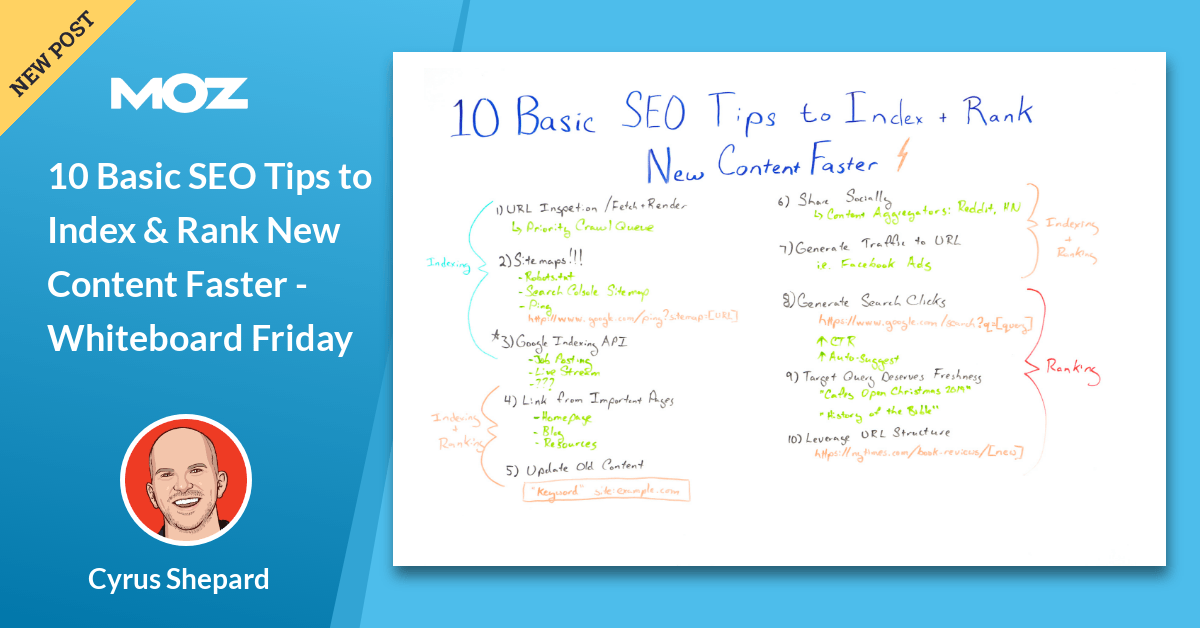 10 Basic SEO Tips to Index & Rank New Content Faster - Whiteboard Friday