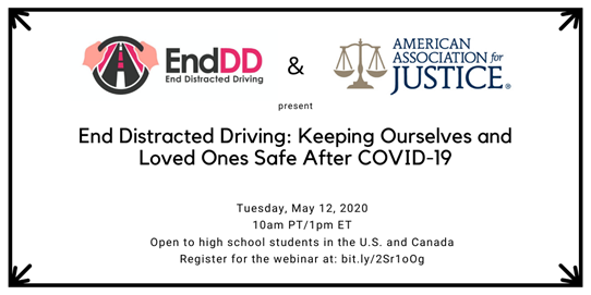 Free End Distracted Driving Webinar to be Broadcast to High School Students Across US and Canada