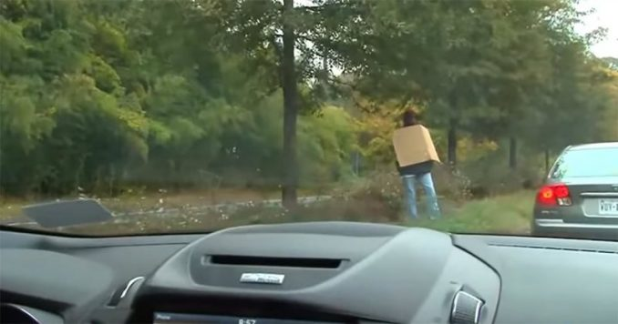 'Homeless Man' Makes Drivers Angry, Realize They've Been Fooled By His Sign