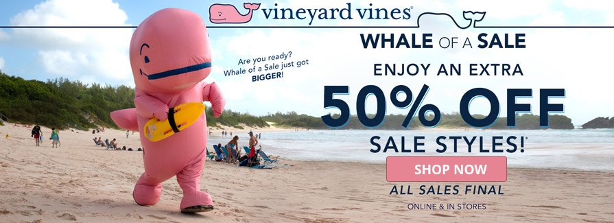 Whale Of A Sale! Enjoy An Extra 50% Off Sale Styles...!!!