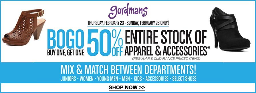 BOGO 50% off entire stock of apparel & accessories...!!!