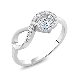 Charles&Colvard The Original Created Moissanite Infinity Heart 925 Silver Ring
