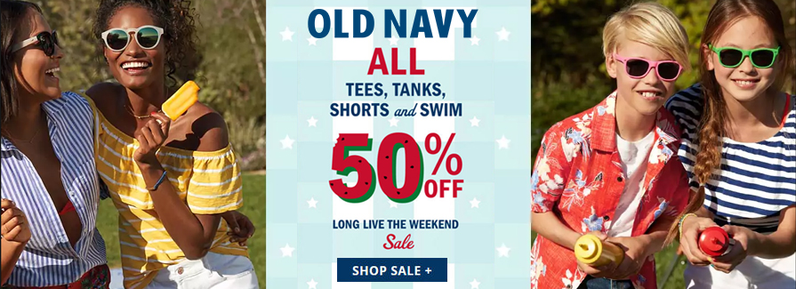 Take 50% off all tees, tanks, shorts and swim...!!