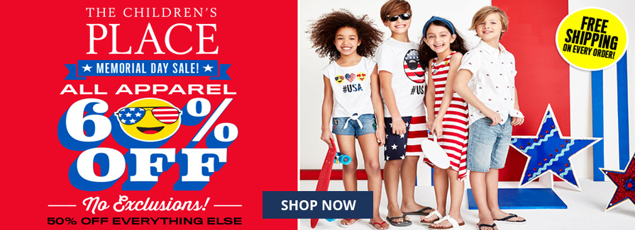 Memorial Day Sale! All apparel 60% off + 50% off everything else
