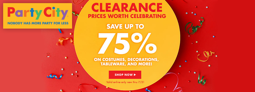 CLEARANCE! Save up to 75% on Costumes, Decorations, Tableware, and more..!!