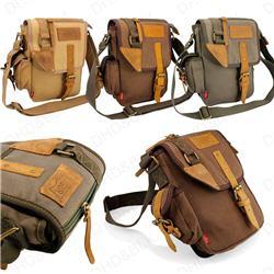 US Men's Vintage Canvas Leather Messenger Shoulder Bag