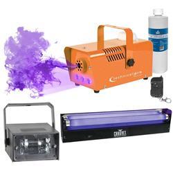 Halloween Decor Orange UV LED Fog Machine w Fluid + Strobe Light + Blacklight