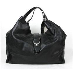 New Gucci Black Soft Calf Leather Large 'Stirrup' Hobo Bag Handbag