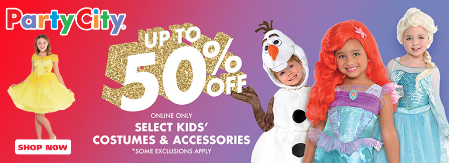 Costume Sale! Take up to 50% off select kids' costumes & accessories..!!