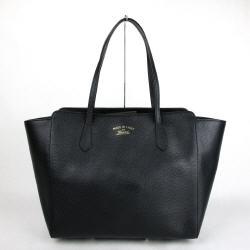New Gucci Black Leather Large Swing Tote Handbag