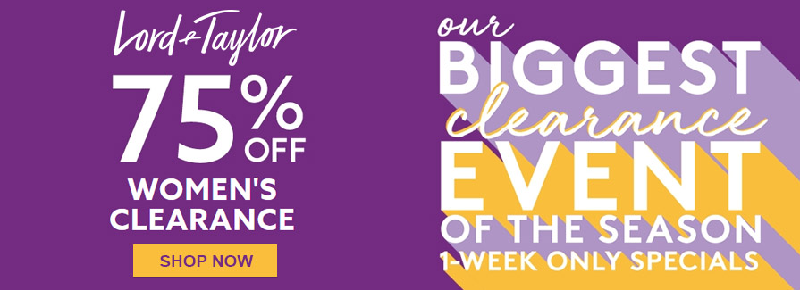 Biggest Clearance Event Of The Season! Take 75% off