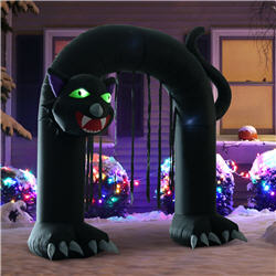 9' Halloween Inflatable Black Cat Archway Door