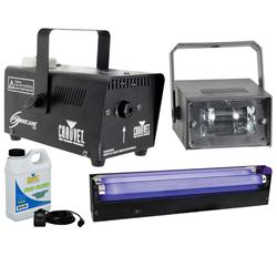 Halloween Party Pack with 18'' Blacklight + Strobe + Fog/Smoke Machine + Fluid