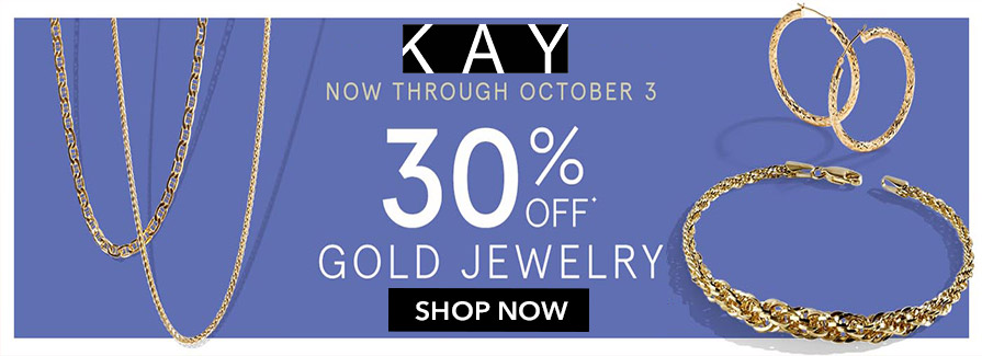 Take 30% off GOLD Jewelry