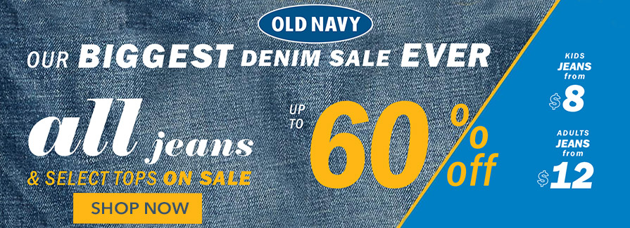 Biggest Denim Sale! Take up to 60% off all jeans & select tops on sale